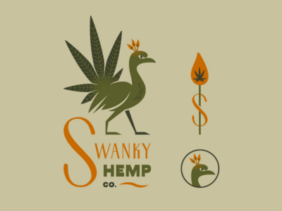 Swanky Hemp Co. s typography matches green brand design idea logo cannabis hemp bird peacock swanky