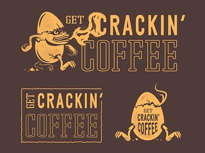 Get Crackin' Coffee practise mascot logo egg coffee dragon