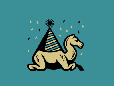Hump day Camel linework thick outlines illustration logo celebration mid-week party hat birthday hat animal doodle hump day wednesdays camel