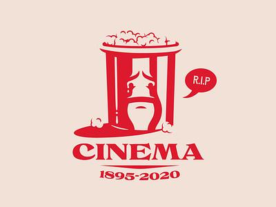 Is cinema dead? vector design doodle logo illustration popcorn movies theatre cinema
