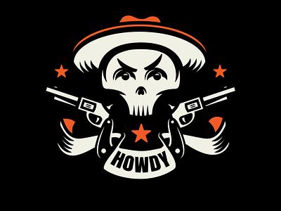 Howdy bold skull halloween vector doodle design logo illustration cowboy