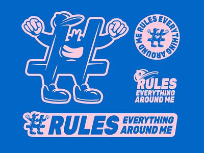 Hashtag Rules Everything Around Me lockups typography illustration design mock-up logo system logo lockups hashtags