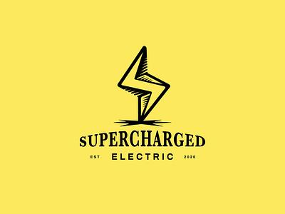 Supercharged⚡ vector branding illustration electric lockup design logo plug lightning bolt lighting