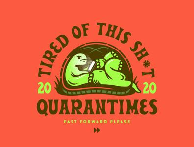 Quarantimes vector drawing artwork quarantine cartoon typography doodle design illustration turtle