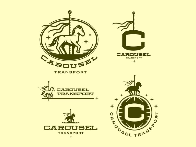 Carousel Logo System vintage lockup illustration carousel horses logo logotype