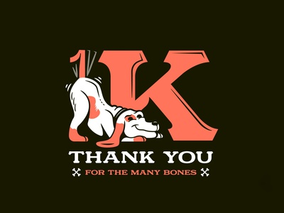 1K (instagram) typogaphy illustration dog followers instagram 1k