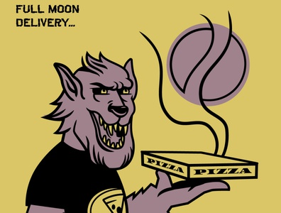 Full Moon Delivery pizza vector doodle illustraion vectorart halloween werewolf