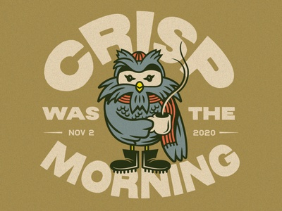 Crisp Morning design artwork bird vector drawing cartoon coffee typography doodle illustration morning howl