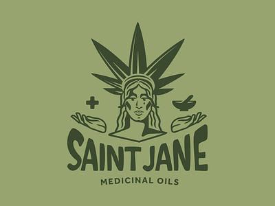 Saint Jane vector branding typography logotype design illustration logo marijuana oil