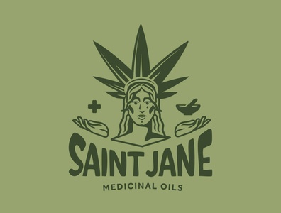 Saint Jane vector branding typography logotype design illustration logo marijuana oil