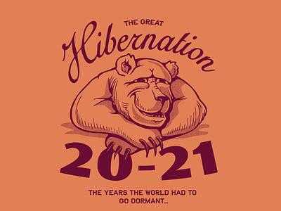 The Great Hibernation typography drawing doodle design handdraw illustration bear