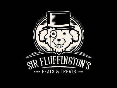 Sir Fluffington's Logo design branding typography illustration symmetrical face monocle top hat lockups logo treats dog