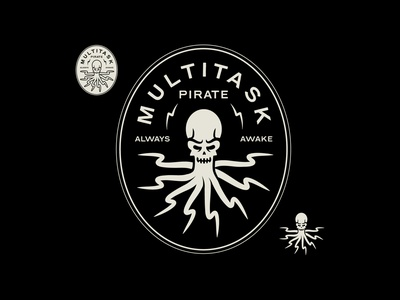 Multitask Pirate artwork vector design doodle pirategraphic monochrome multitask illustration badge logo octopus