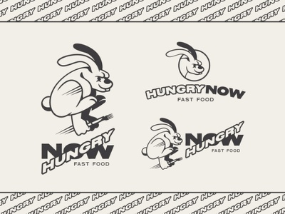 Hungry Now typography cartoon vector branding design doodle rabbit illustration illustration logotype logo rabbit logo bunny