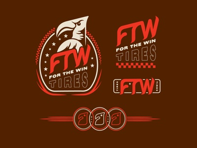 FTW Tires typography design artwork branding illustration vector logo bird of prey eagle racing tires ftw