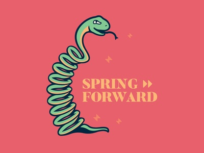 Spring Forward spring concept typography drawing artwork doodle design vector vectorart snake illustration