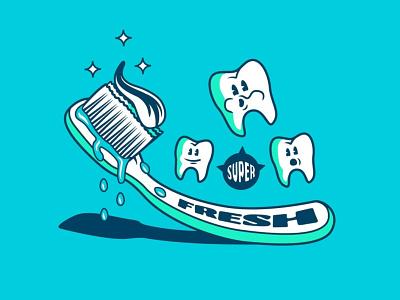 Super Fresh artwork vector typography design teeth toothbrush illustration illustrator
