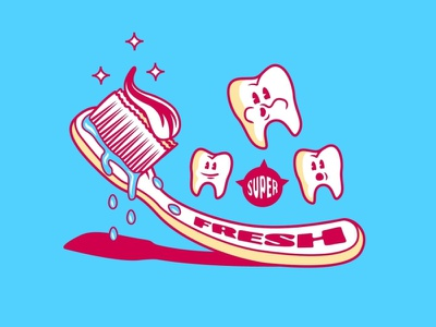 Super Fresh artwork vector typography design teeth toothbrush illustration illustrator