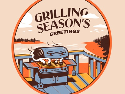 Grilling Season's Greetings framebyframe dribbble concept cartoon artwork vector drawing typography doodle illustration