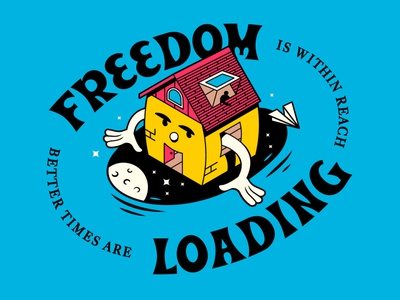 Freedom Loading isometric concept drawing artwork vector typography design illustration