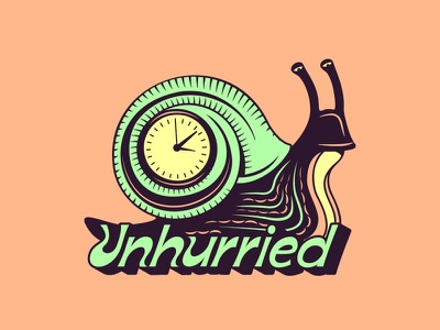 Unhurried clock drawing vector typography doodle design illustration