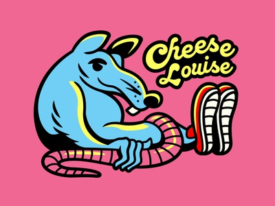 Cheese Louise rat vector drawing typography doodle illustration graphic design