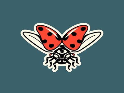 Ladybug eye ladybug doodle design illustration