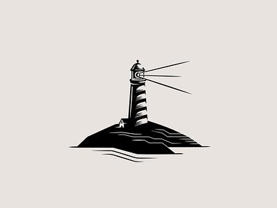 Lighthouse sea lighthouse drawing vector doodle design logo illustration