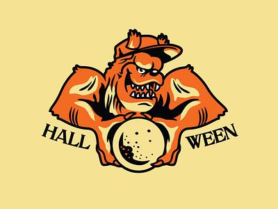 Werewolf werewolf halloween drawing vector typography doodle design logo illustration