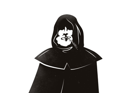 Beer Monk black and white. wheat ear monk illustration