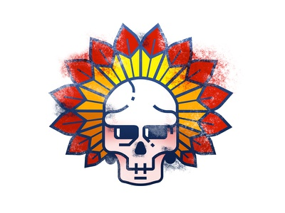 Chief red feather chief illustration skull