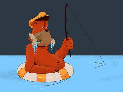 Fishing buoy. hat rod water fish illustration bear