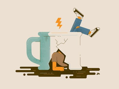 Coffee Struggles spoon bolt lightning leak illustration mug coffee cracked