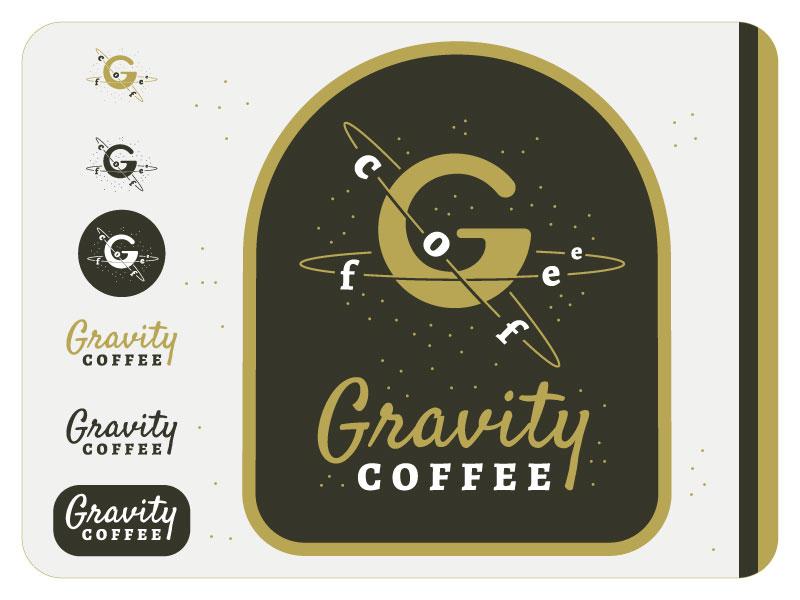 Gravity Coffee stars font space planet concept gravity logo coffee