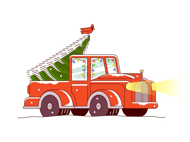 Last Minute Tree last minute bird cardinal truck snow holidays christmas christmas tree
