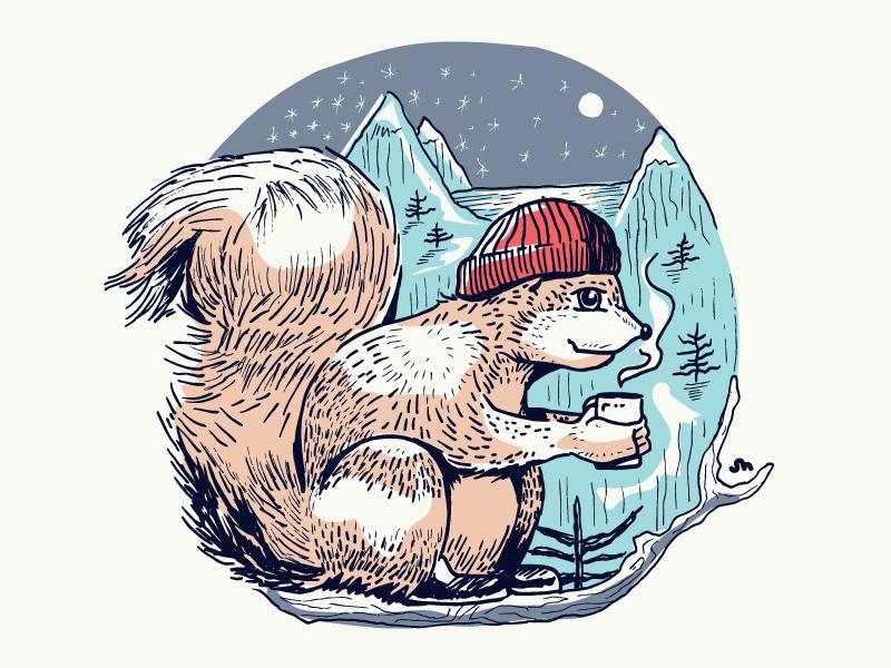 Shirt Print X Mas 2017 coffee scene winter print shirt 2017 christmas x-mas squirrel