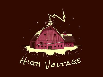 High Voltage illustration bolt lightning rooster barn