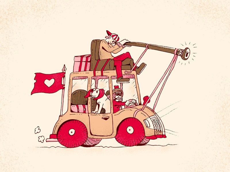 Lovely Exploration doodle travel illustration drawing explorer telescope flag heart dog explore love car