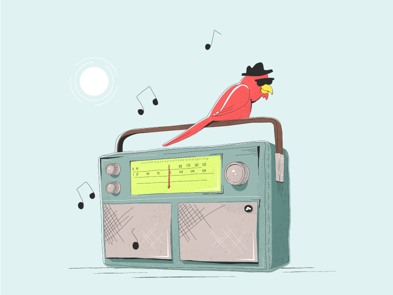 Good Vibes boom box radio sun sunglasses cardinal bird illustration music
