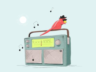 Good Vibes boom box radio sun sunglasses cardinal bird illustration music