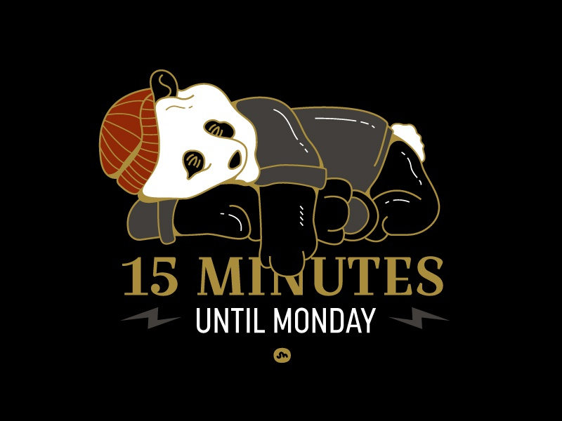 15 til' Monday snooze sleep lightning design sleepy monday illustration panda