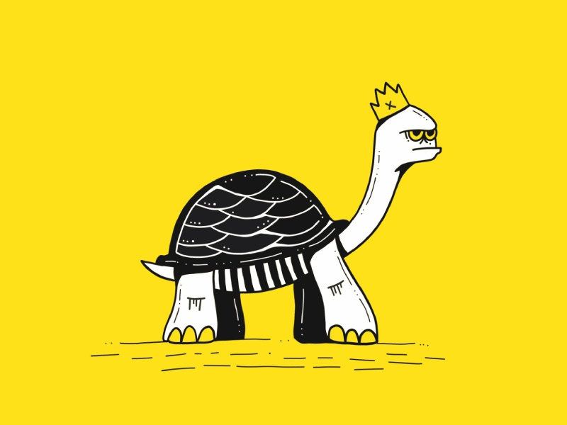 Slow and Steady... royal blak and white yellow illustration drawing crown king turtle