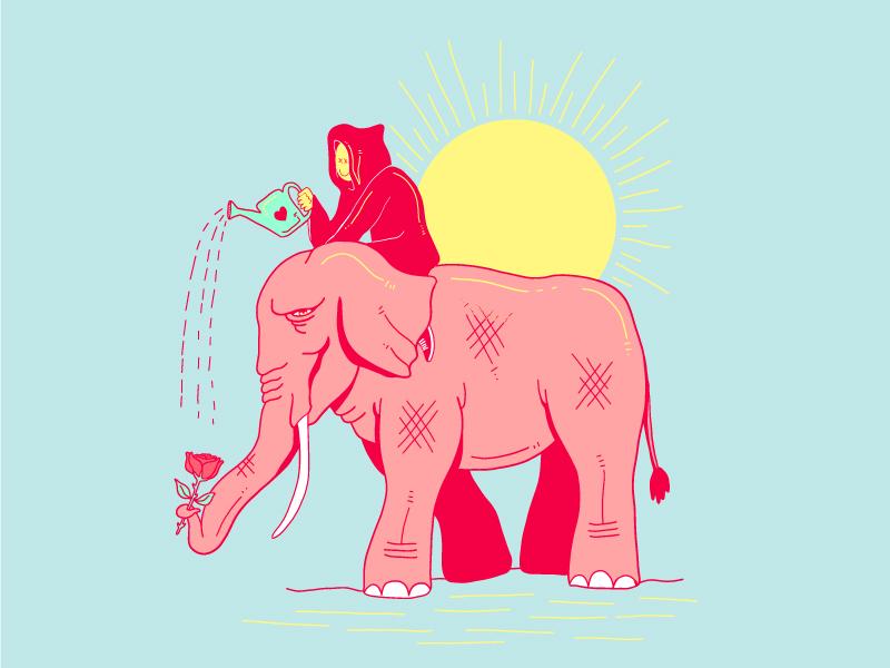 A little Rain drawing rose illustration elephant