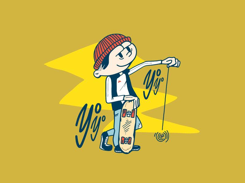 Clean Old Fun skateboard dude illustration 90s yoyo