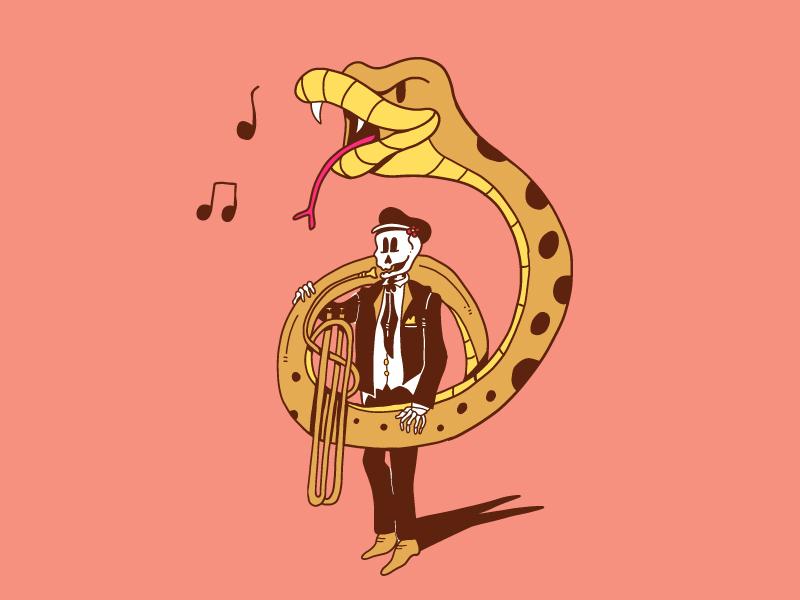 Bring the Horns illustration notes musician skeleton skull snake music tuba