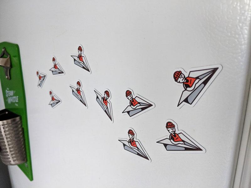 Flying High Fridge Magnet! plane paperplane dude illustration fridge high flying magnet