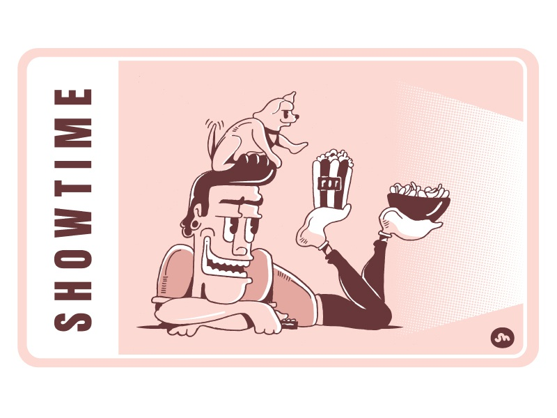 SHOWTIME remote dog snacks chips popcorn showtime show tv daily life illustration