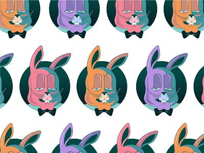 Rabbit polka dot illustration bow tie rabbit pattern