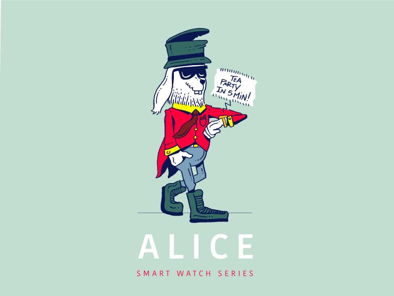 ALICE suit party tea bunny rabbit alice in wonderland smart watch