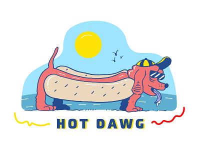 Hot Dawg drawing doodle weiner dog summer hot dog illustration